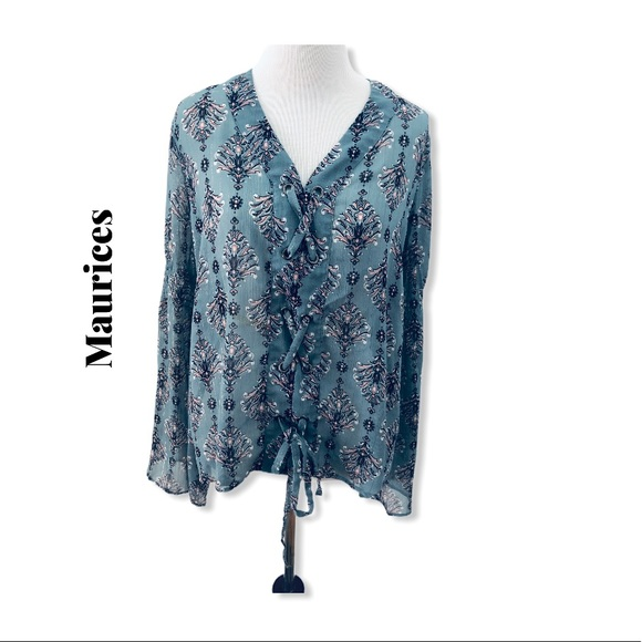 Maurices Lace Up Blouse Size M